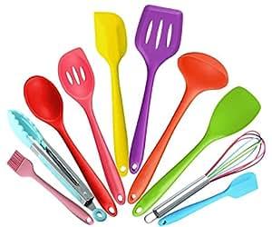 Juego de utensilios de cocina de silicona no tóxica; incluye pinza, batidor, cepillo, cuchara con muescas, tenedor para espaguetis, espátula con muescas.