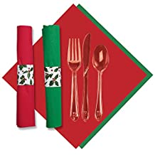 Hoffmaster 119995 Holly CaterWrap, Pre-Rolled Red/Jade 2-Ply Dinner Napkins and Heavy Weight Clear Cutlery (2 Bags of 50)
