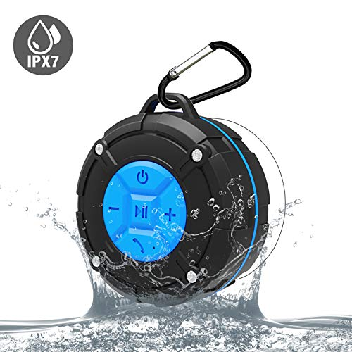 Waterproof Bluetooth Speakers IPX7 Outdoor Portable Shower Wireless Speaker with HD Sound, Enhance Bass, Suction Cup, Built-in Mic, Bluetooth 4.2, Hand-Free Speaker (Blue)