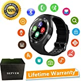 SEPVER Smart Watches Smart Watch SN05 Round Smartwatch with SIM TF Card Slot Sync Calls Notifications for IOS Android Samsung Huawei Sony LG HTC Google Men Women Kids Girls Boys (Black)