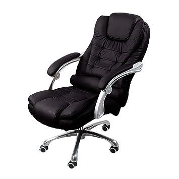 Silla de oficina de cuero de la PU simple oficina en casa reclinado jefe ascensor silla giratoria con reposacabezas y apoyo lumbar masaje espalda cuero ...