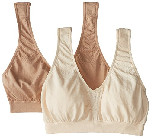 Bra Microfiber Sport Seamless (Bali Women's Comfort Revolution Seamless Crop Top 2 Pack, Light Beige/Nude, Large)