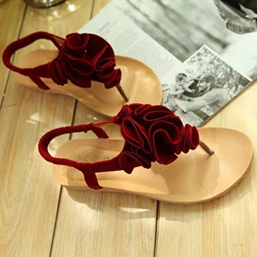 sandalias Beach mujer Las dulces Sandalias pie ❣JiaMeng dedo del clip del zapatos Shoes la verano Rojo de del flor verano mujeres Bohemia rHr4dwqx