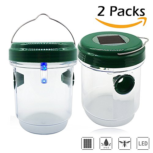 ZALALOVA Wasp Trap Catcher, 2- Packs Yellow Jackets Trap with Non-ToxicSolar Powered Ultraviolet LED Light Effective Reusable Trapsfor Wasps, Bees, Hornets, Yellow Jackets, Bugs, Fly, Home, Garden