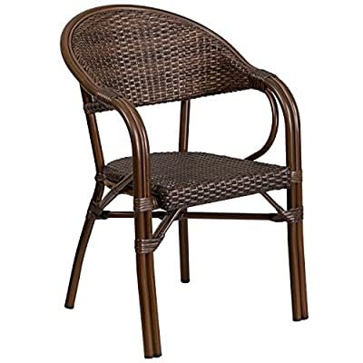Flash Furniture Milano Series Cocoa Rattan Restaurant Patio Chair with Bamboo-Aluminum Frame - Stackable Cafe Chair Stack Quantity: 9 Curved Back - patio-furniture, patio-chairs, patio - 51ih91PLv L. SS400  -