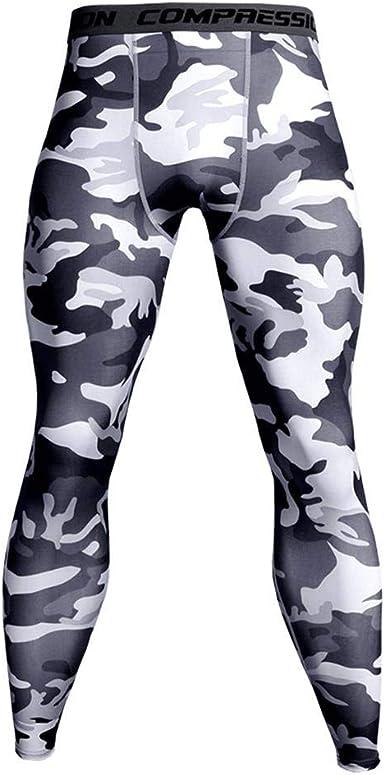 UK Mens Compression Thermal Under Base Layers Camo Skinny Pants Leggings Trouser