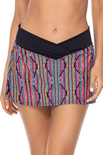 Sunsets Women's Summer Lovin Swim Skirt Bikini Bottom Swimsuit, Playa Stripe, Large