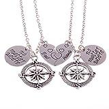 2PCs Best Friends No Matter Where Compass Necklace Set Heart Best Friend Gifts BFF Friendship Necklaces