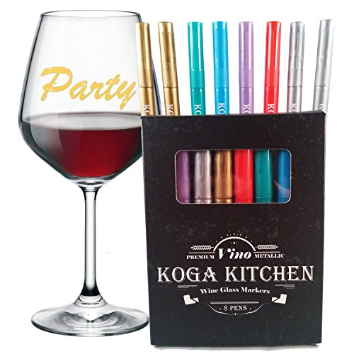 Wine Glass Markers by Koga Kitchen Metallic 8-Pack in Gift Box + Dry Erase Cloth - Premium Vino Glasses Writer
