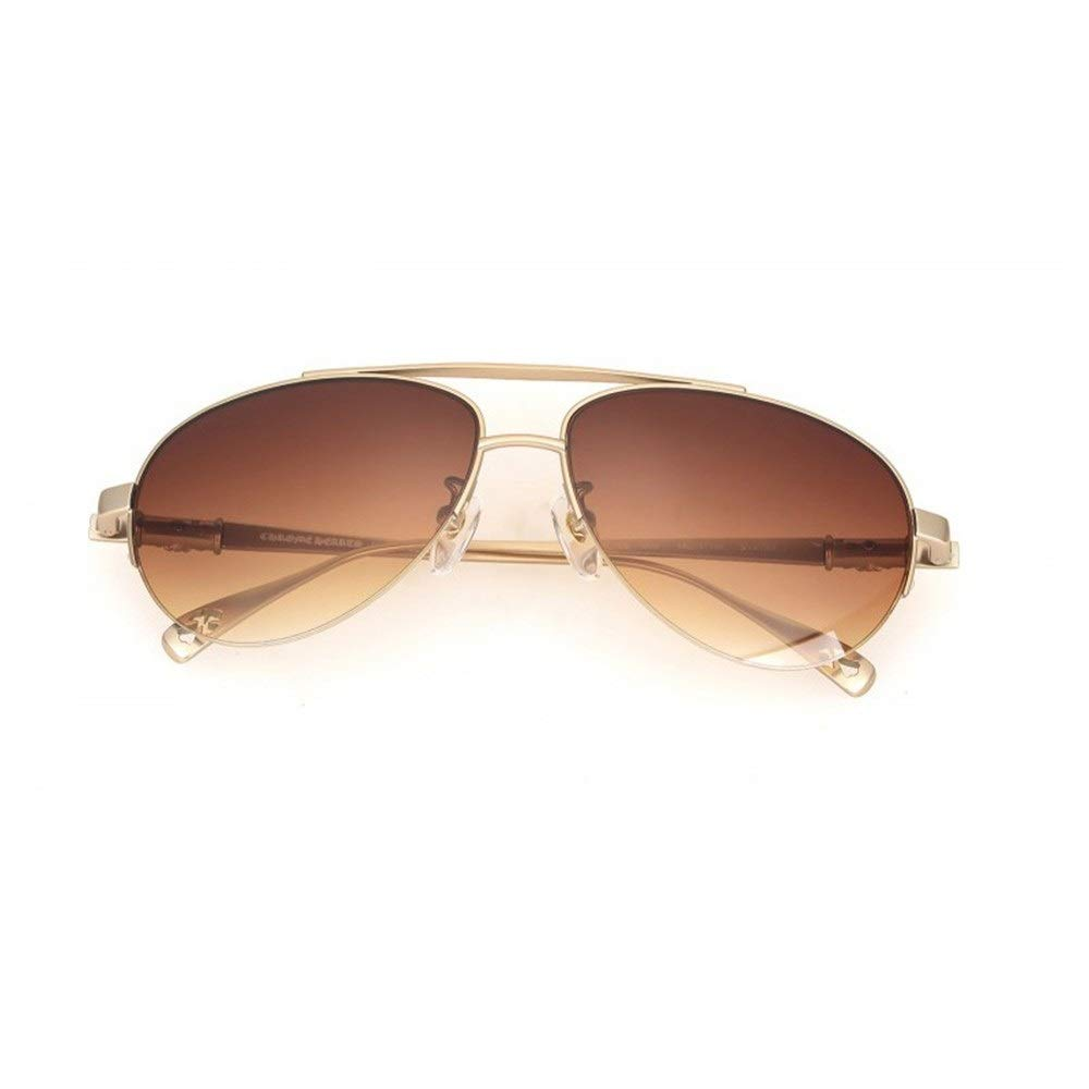 Sunglasses, 2019 new sunglasses men's new personality metal half frame sunglasses (Color : Golden, Size : One size)