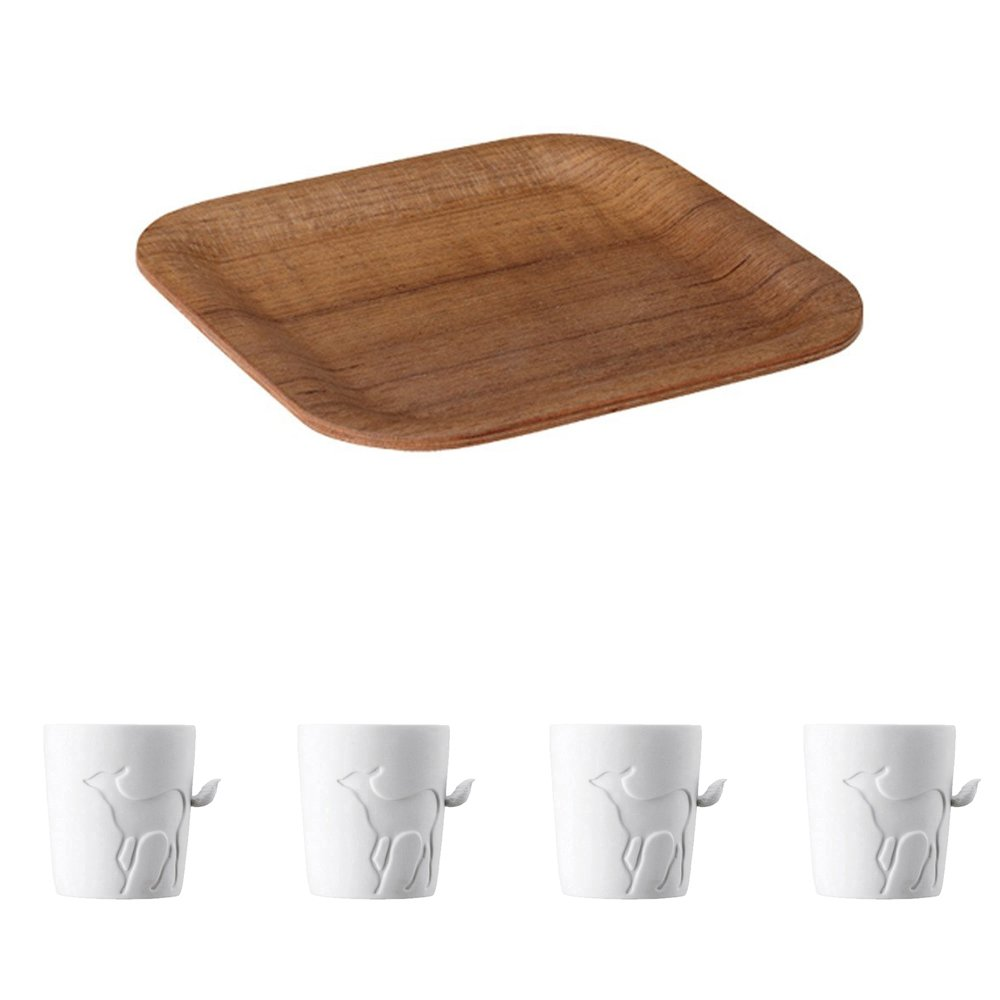 KINTO 6.3 inch Nonslip Square Teak Tray and Four MUGTAIL Fawn Porcelain Mug, Set of 5