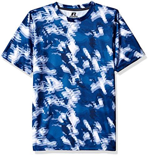 - Russell Athletic Big Boys' Youth Short Sleeve Performance Tee, Navy Camo, Medium
