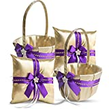 Roman Store Gold & Purple Jewel Wedding Ring Bearer Pillow and Flower Girl Basket Set – Satin & Ribbons – Pairs Well with Most Dresses & Themes – Splendour Every Wedding Deserves