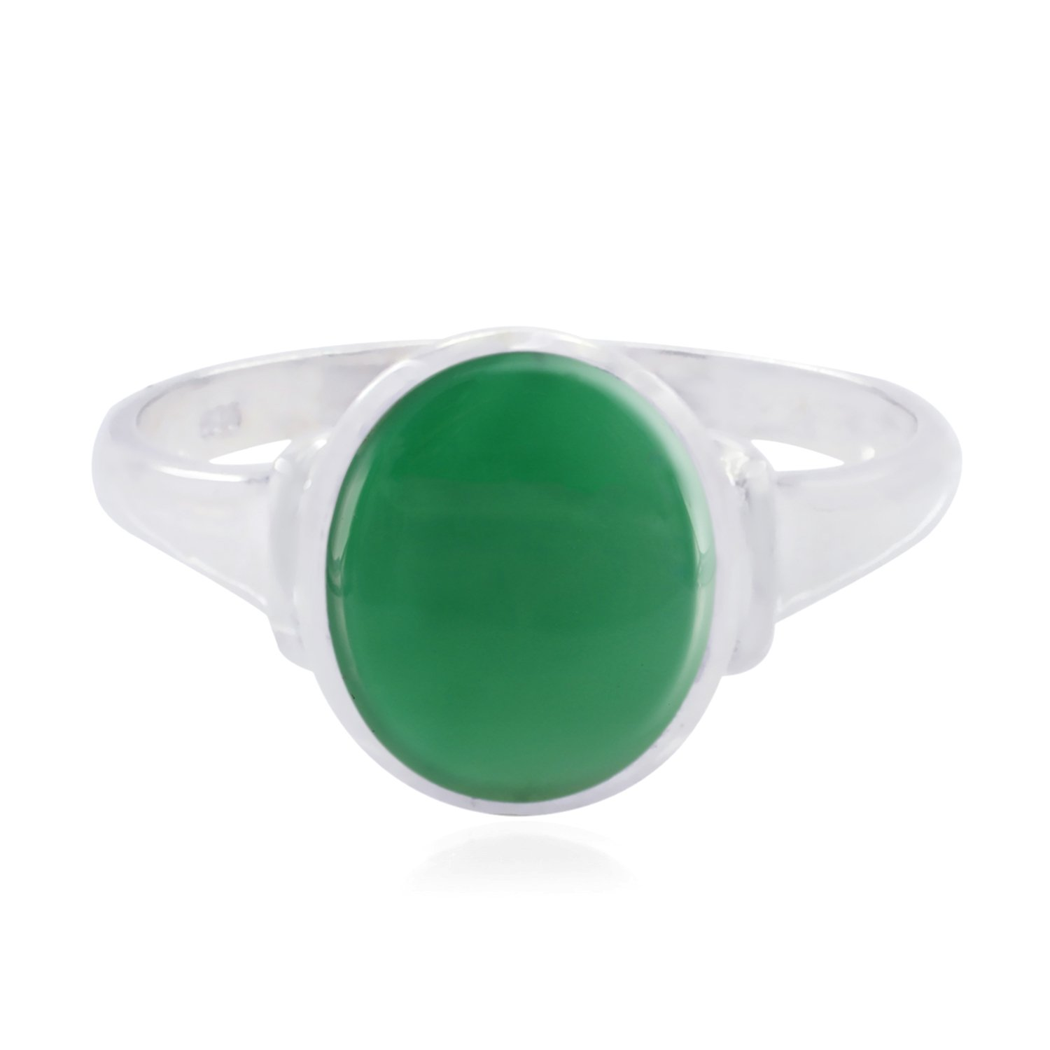 Good Gemstones Oval Cabochon Green Onyx Rings Nice Jewelry Greatest Item Gift for Engagement fine Rings Fashion Green Green Onyx Good Gemstones Ring