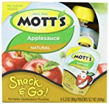 MOTT'S Apple Sauce, Natural, 4 Count (Pack of 2)