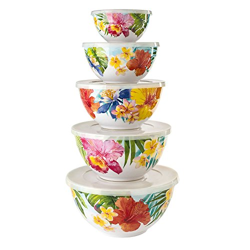 Melamine 10-Piece Mixing Bowl Set - Tropical by Member's Mark (Image #1)