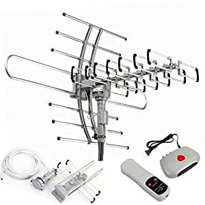 1080P Antenna Amplified HDTV Outdoor 150 Miles Range 360° Rotor Digital HDTV UHFVHF FM HD
