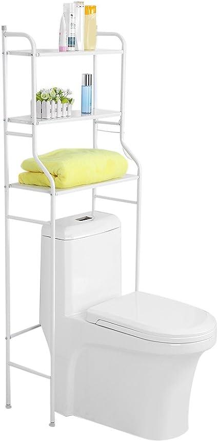 Skesoar - Mueble de almacenamiento para inodoro, 3 niveles, estante de almacenamiento para cuarto de baño, metálico, para lavadora, ahorro de espacio, ...