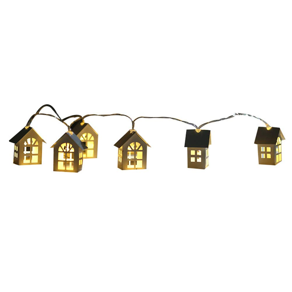 Buyanputra 2m LED Wooden House Style Light String,Battery Powered Christmas Decoration Light for Evening Party Battery