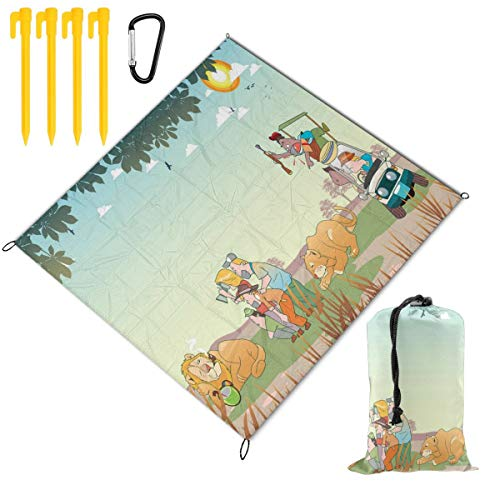 (FunnyCustom Picnic Blanket Portable Waterproof Tourists On A Safari Tour Picnic Mat for Beach Camping 59 x 57 Inch)