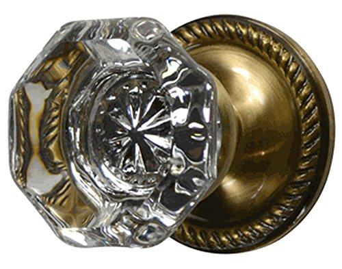 (Providence Octagon Real Crystal Door Knob with Georgian Roped Rosettes in Antique Brass (Privacy Bed/Bath))