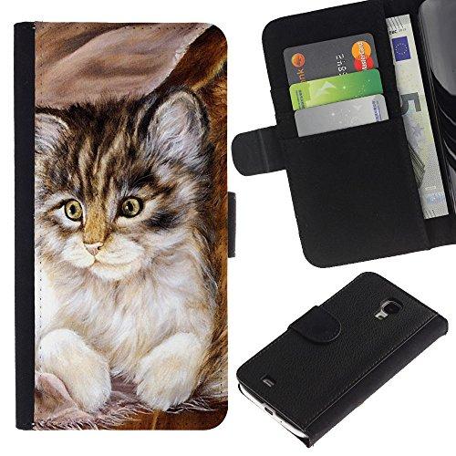 EuroCase - Samsung Galaxy S4 Mini i9190 MINI VERSION! - Maine coon kitten small feline - Cuero PU Delgado caso cubierta Shell Armor Funda Case Cover
