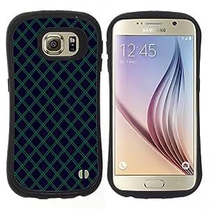 "Pulsar iFace Series Tpu silicona Carcasa Funda Case para Samsung Galaxy S6 , Azul marino Verde Líneas Diamond"""
