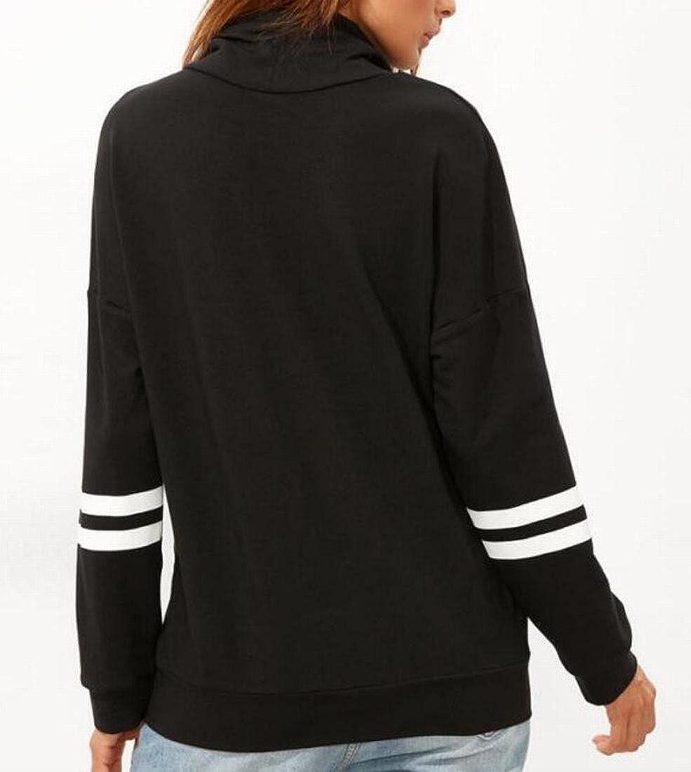 S-Fly Women Fashion Hoodies Stripes Sun And Moon Print Pullover Sweatshirt