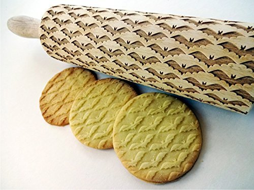 BAT rolling pin. Embossing Rolling pin with BATS pattern for HALLOWEEN and not only! -