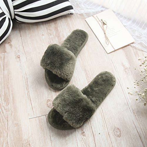 Fankou fondo piatto pantofole di cotone femmina esterno inverno indossare pantofole home incantevole autunno inverno spesso maglione anti-slittamento ,33-34, blu