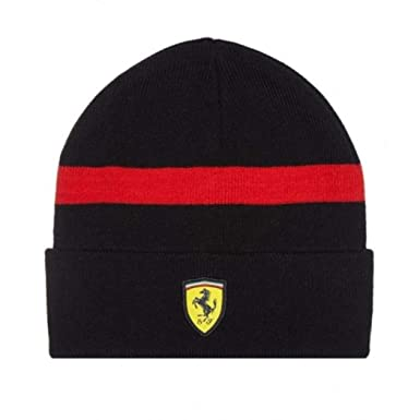 cce76acc811 Image Unavailable. Image not available for. Color  Scuderia Ferrari Formula  1 Black Knitted Beanie