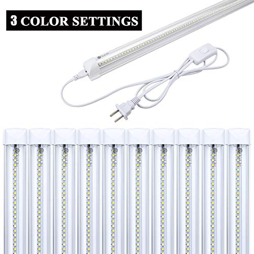 10-Pack, AceLite LED T8 Integrated Single Fixture with 3 Color Temperatures, 4FT, 20W, 2200lm, Utility Shop Light, Linkable Light Tube with ON/OFF Switch