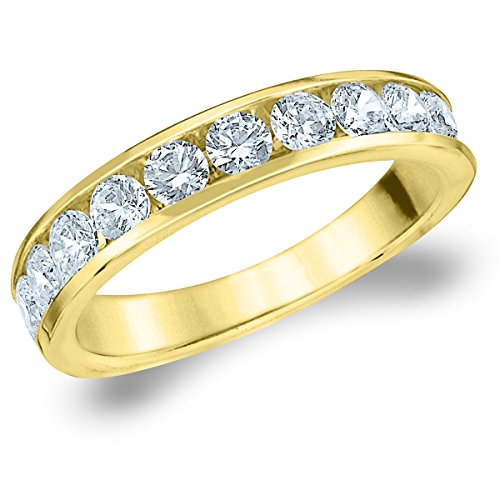 18K Yellow Gold Diamond Channel Set Wedding Band (1.0 cttw, H-I Color, I1-I2 Clarity) Size 8 (Ring Diamond Gold Eternity 18k)