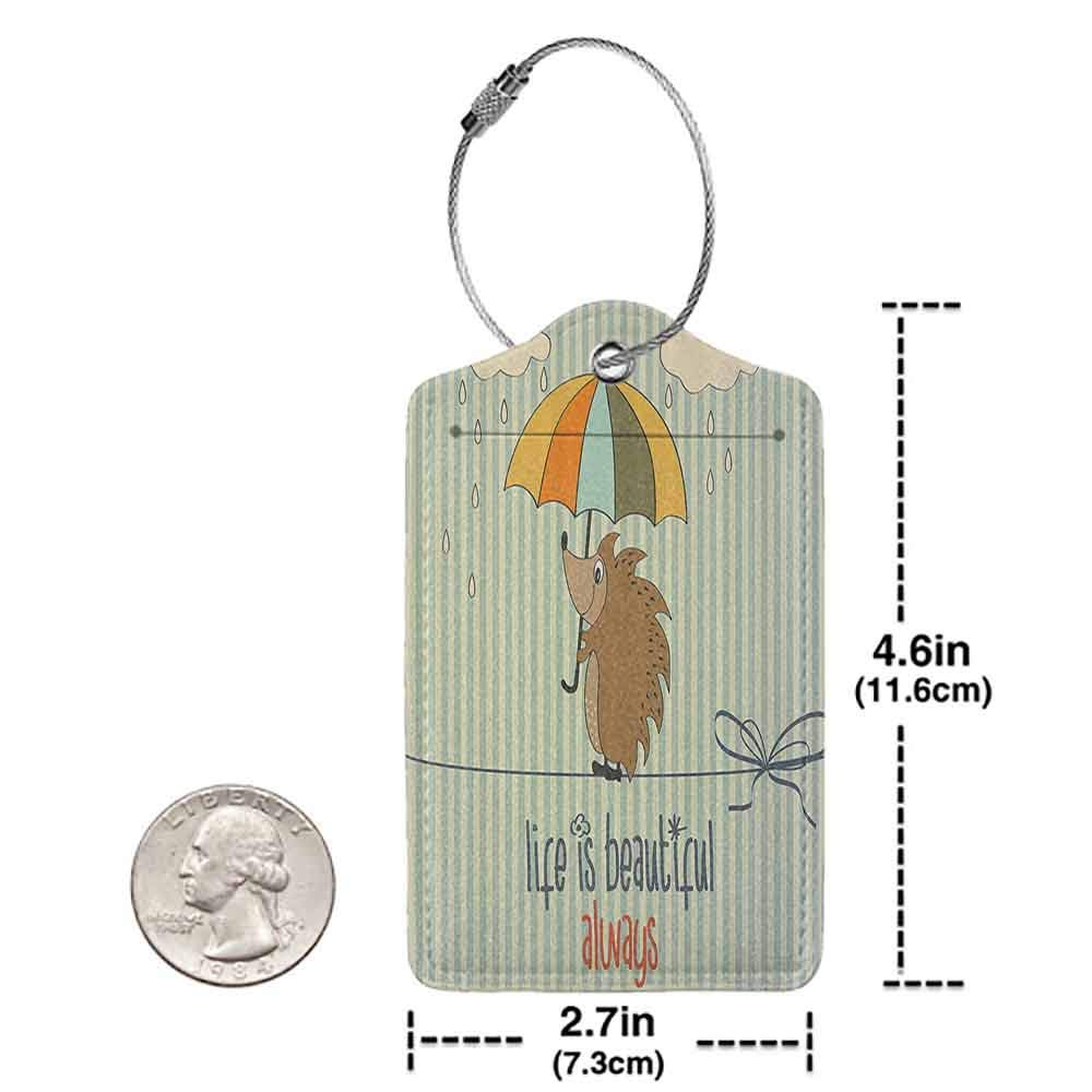 Personalized luggage tag Quotes Decor Collection Hedgehog with Umbrella under Rain and Phrase Life is Beautiful Always Pattern Easy to carry Orange White Blue Tan W2.7 x L4.6