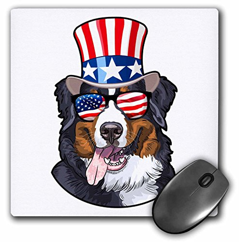 3dRose Patriotic American Dogs - Burmese Mountain Dog with American Flag Sunglasses and Top hat - Mousepad (mp_282711_1) ()