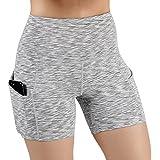 ODODOS High Waist Out Pocket Yoga Shots Tummy Control Workout Running 4 Way Stretch Yoga Shots,SpaceDyeGray,X-Large