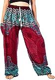 Lofbaz Women's Drawstring Rose 1 Harem Boho Genie Pants Burgundy M