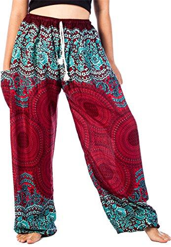 Lofbaz Women's Drawstring Rose 1 Harem Boho Genie Pants Burgundy XL (Boho 1)