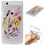 Qiaogle Phone Case - Soft TPU Silicone Case Cover Back Skin for Huawei P9 Lite / P9 Mini (5.2 inch) - HC10 / Lip gloss + eyebrow pencil