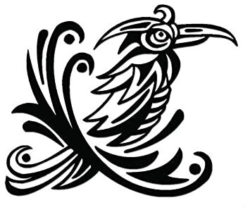 b5b72f820 Image Unavailable. Image not available for. Color: YWS Vinyl Stickers Decals  - Tribal Art Raven Bird - Stickers Laptop Car Truck Window Bumper