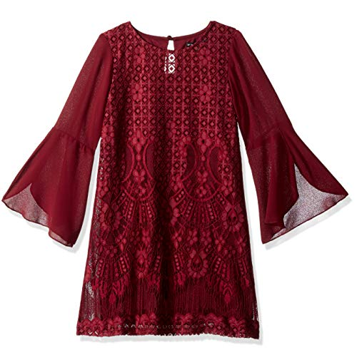 My Michelle Big Girls' Shift Dress, Wine, 10 (Clothes Michelle My)