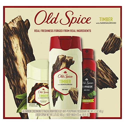 Old Spice Gift Pack for Men, Timber With Sandalwood, Inspired by Natural Elements, Body Wash + Deodorant + Body Spray ()