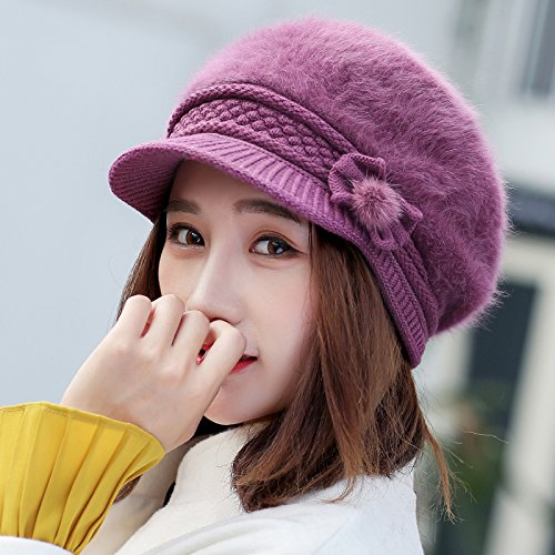 Syksdy Madam Autumn and Winter New Hair Beret Cute Peaked Cap Violet