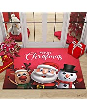 Indoor/Outdoor Christmas Easy Clean Rubber Back Entry Way Doormat for Patio, Reindeer Snowman Decorative Floor Mat for Front Door, All Weather Exterior Doors, 35 x 23