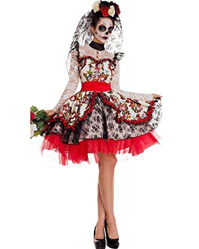 Party King Women's Plus Size La Novia Costume, White/Multi, 2X-Large
