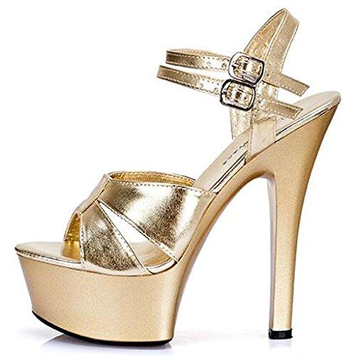 Con Pasarela Plataforma Calzado De Impermeable Fina Zapatos Tacones Para Modelo Grueso Altos Gold Mujeres Sandalias Altas 6nBOq0x