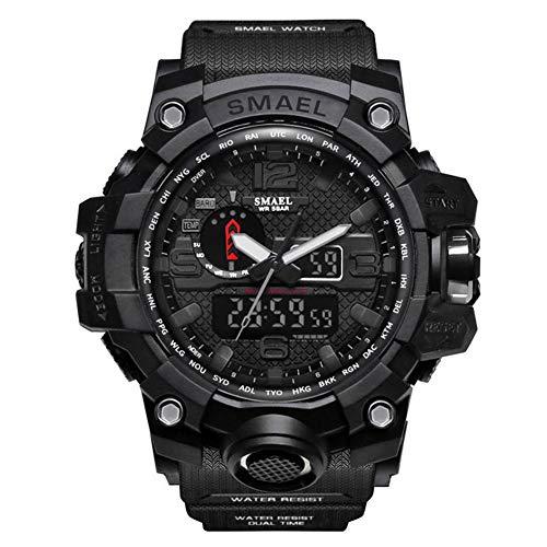 SMAELBand Men Military Watch 50m Waterproof Wristwatch LED Quartz Clock Sport Watch Male Sport Watch Men S Shock,BLACK