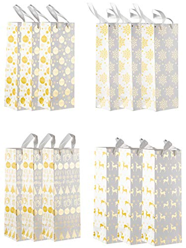 Wine Gift Bags - 12-Pack Wine Bags for Christmas Holiday, Anniversary, Birthday, 4 White and Gold Foil Winter Festive Designs, 3 of Each, Wine Bottle Gift Bags with Handles, 4.7 x 4 x 13.7 Inches