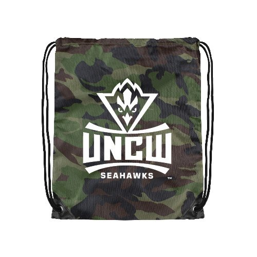 CollegeFanGear UNC Wilmington Camo Drawstring Backpack 'Official Logo'