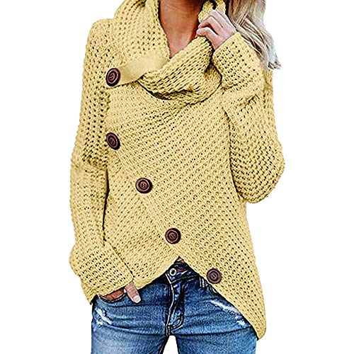 Stripes Choice Irregular (Sunhusing Women's Irregular Stacked Collar Long Sleeve Strap Buckle Button Loose Knit Pullover)